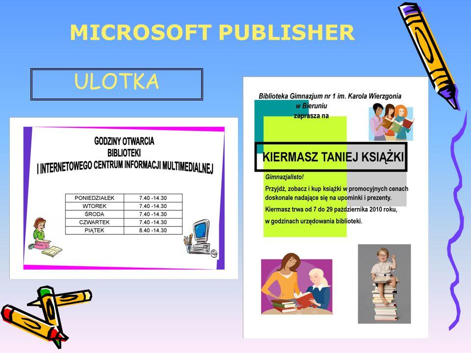 MICROSOFT PUBLISHER ULOTKA