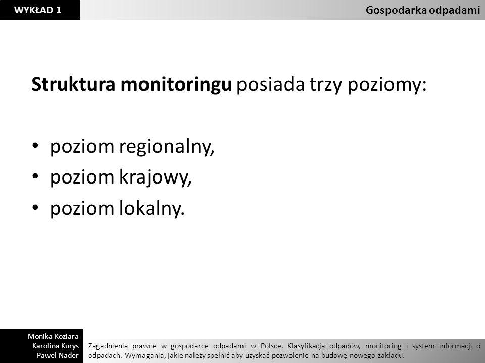 Struktura monitoringu posiada trzy poziomy: poziom regionalny,