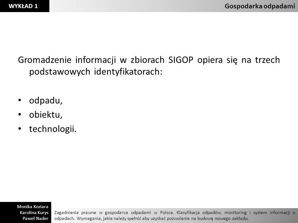 Gospodarka odpadami Gromadzenie informacji w zbiorach SIGOP opiera się na trzech podstawowych identyfikatorach: