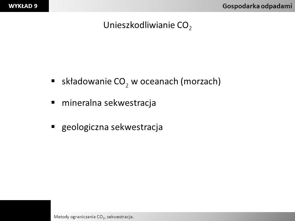 składowanie CO2 w oceanach (morzach) mineralna sekwestracja