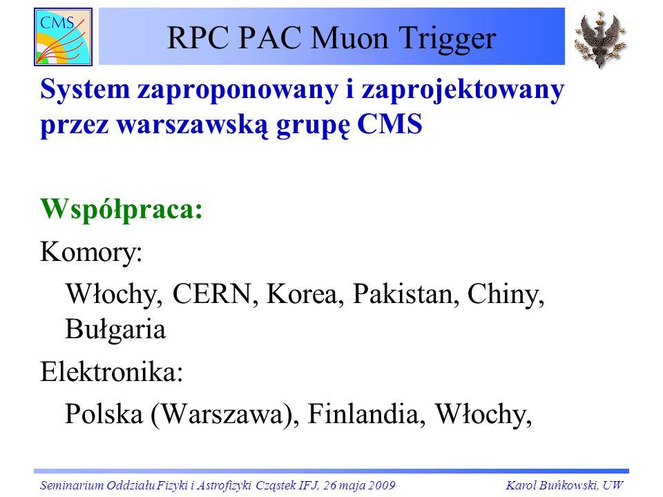 RPC PAC Muon Trigger System zaproponowany i zaprojektowany przez warszawską grupę CMS. Współpraca: