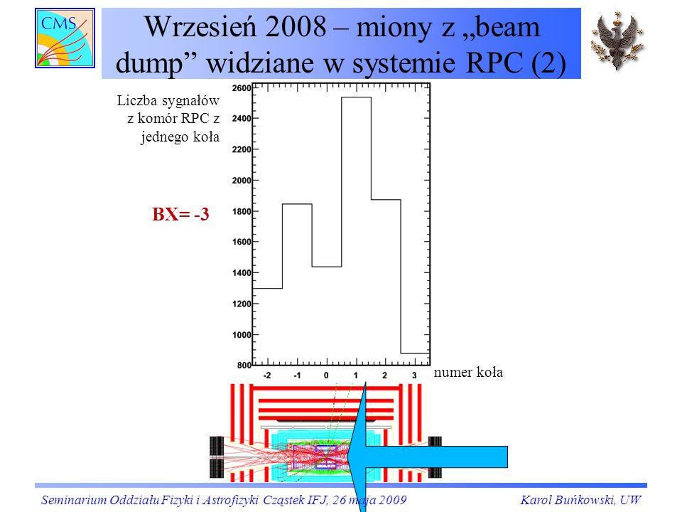 """Wrzesień 2008 – miony z """"beam dump widziane w systemie RPC (2)"""
