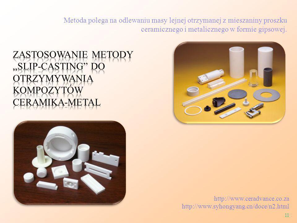 Metoda polega na odlewaniu masy lejnej otrzymanej z mieszaniny proszku ceramicznego i metalicznego w formie gipsowej.