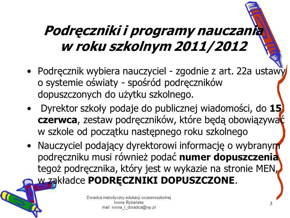 Podręczniki i programy nauczania w roku szkolnym 2011/2012
