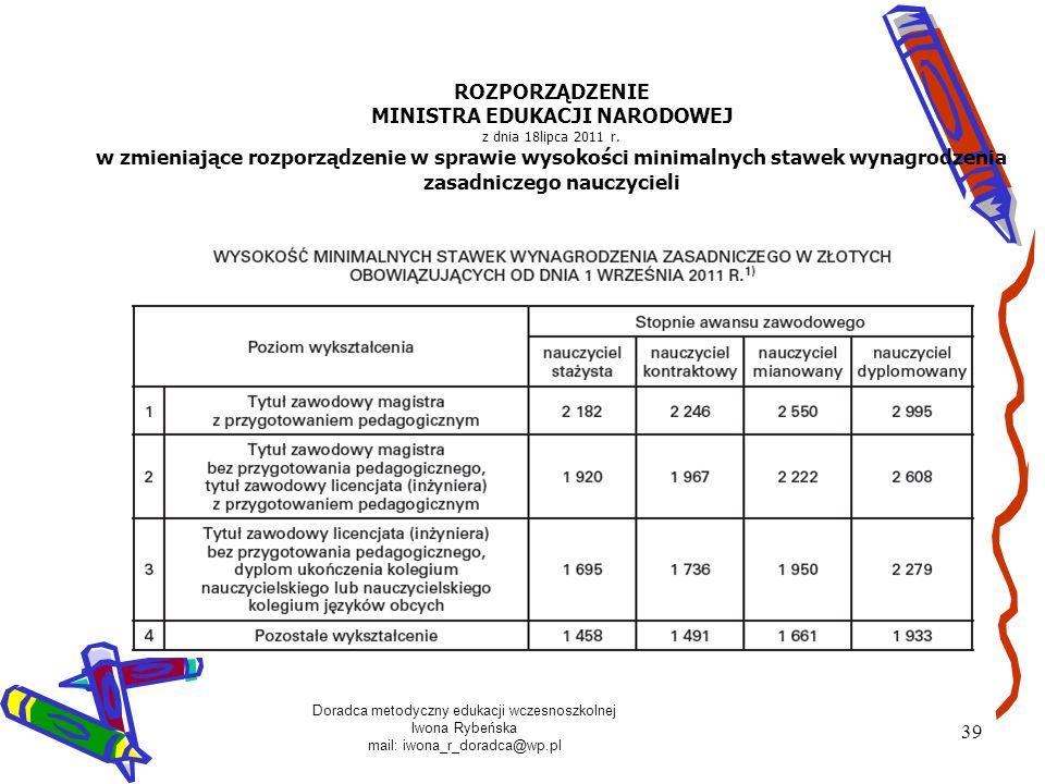 ROZPORZĄDZENIE MINISTRA EDUKACJI NARODOWEJ z dnia 18lipca 2011 r