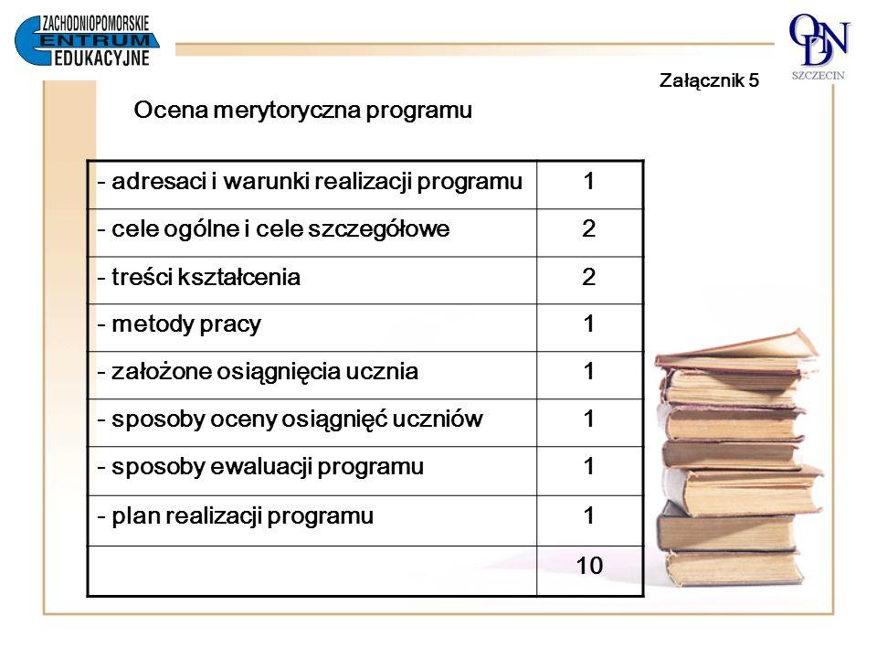 Załącznik 5 Ocena merytoryczna programu