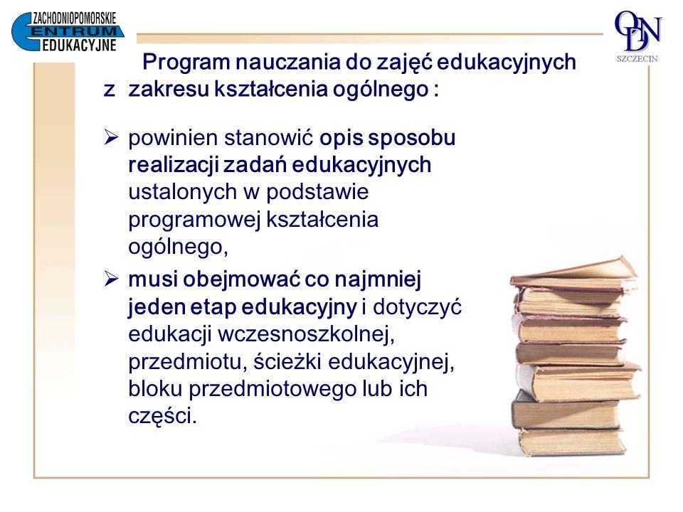 Program nauczania do zajęć edukacyjnych z zakresu kształcenia ogólnego :