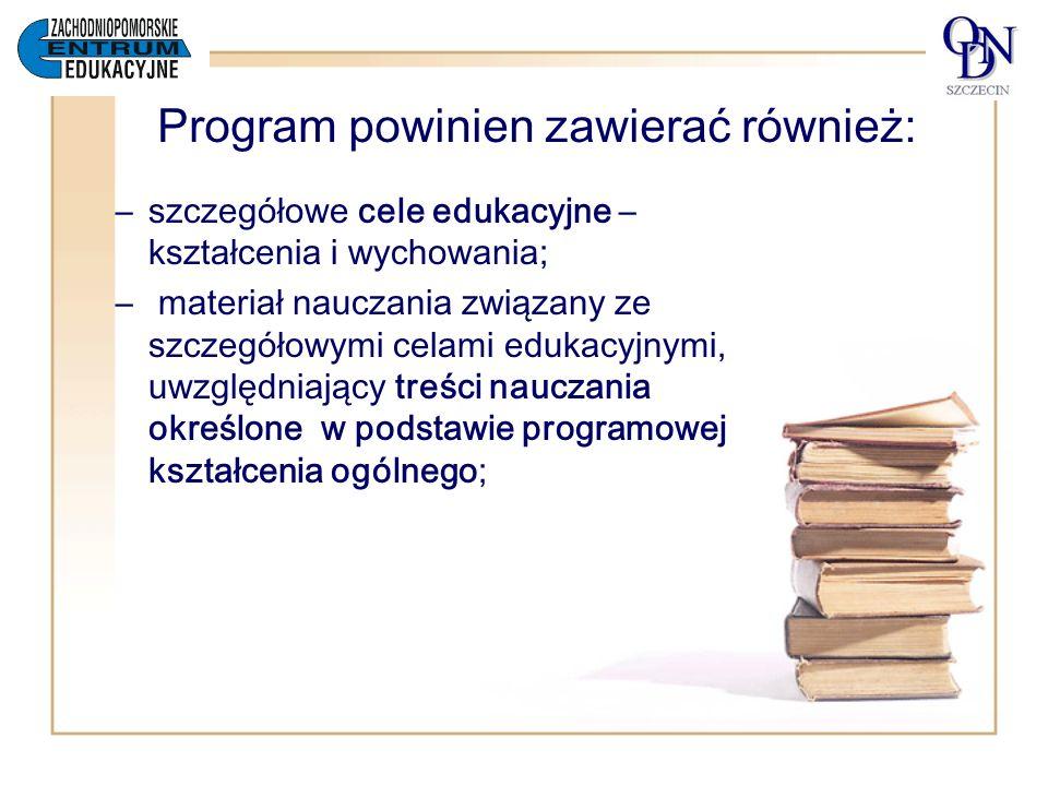 Program powinien zawierać również:
