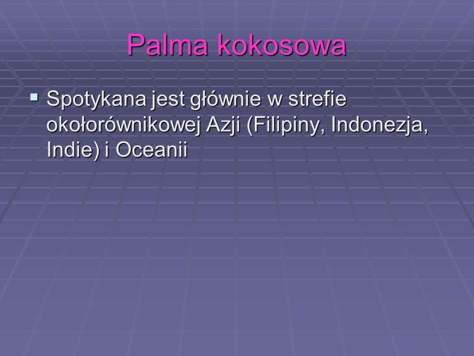 Palma kokosowaSpotykana jest głównie w strefie okołorównikowej Azji (Filipiny, Indonezja, Indie) i Oceanii.