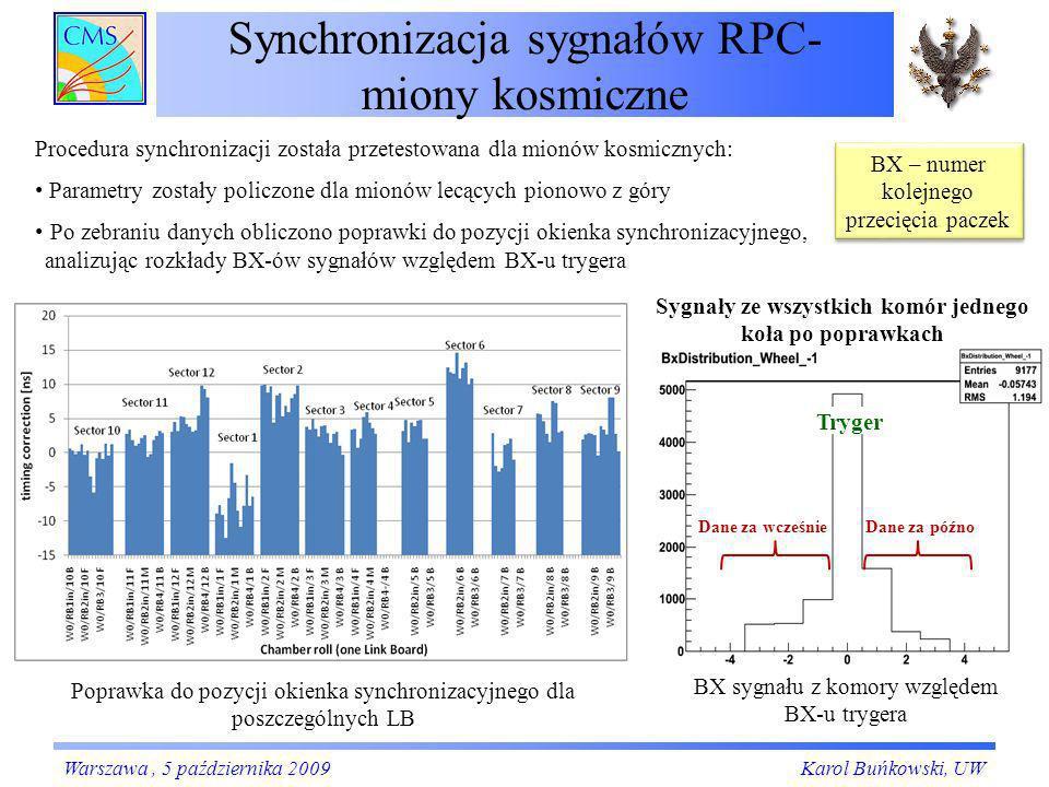 Synchronizacja sygnałów RPC- miony kosmiczne