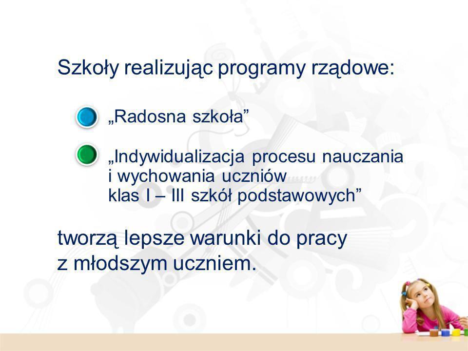 Szkoły realizując programy rządowe: