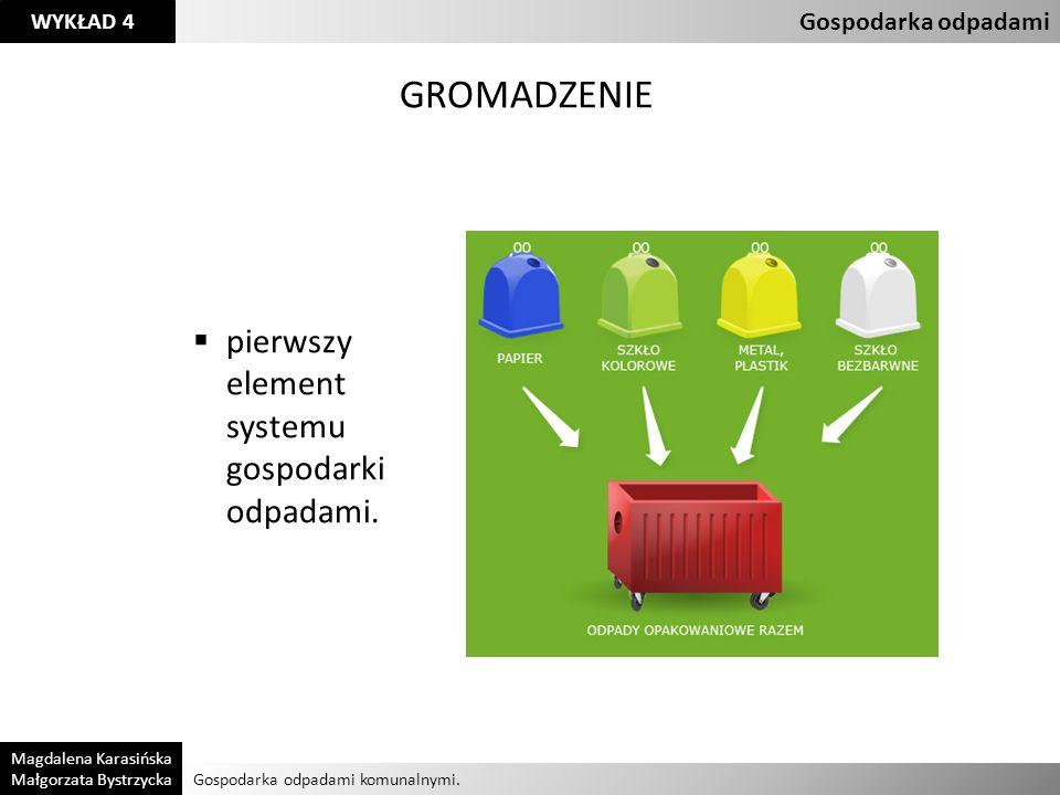 GROMADZENIE pierwszy element systemu gospodarki odpadami.