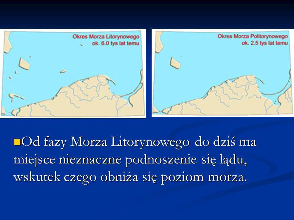 Od fazy Morza Litorynowego do dziś ma miejsce nieznaczne podnoszenie się lądu, wskutek czego obniża się poziom morza.