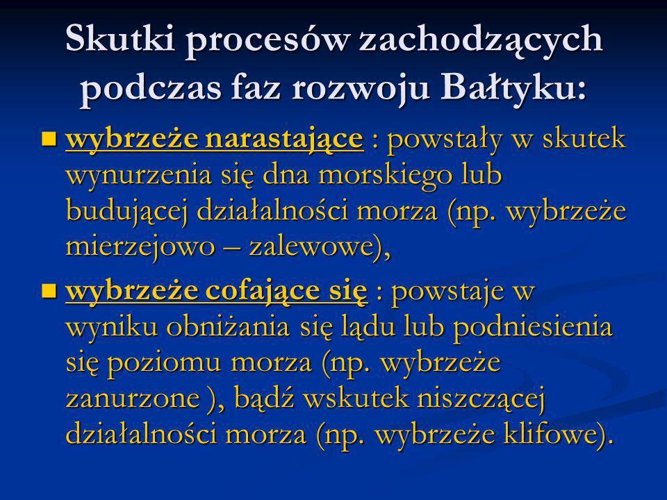 Skutki procesów zachodzących podczas faz rozwoju Bałtyku: