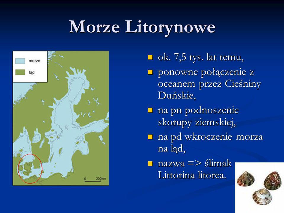 Morze Litorynowe ok. 7,5 tys. lat temu,