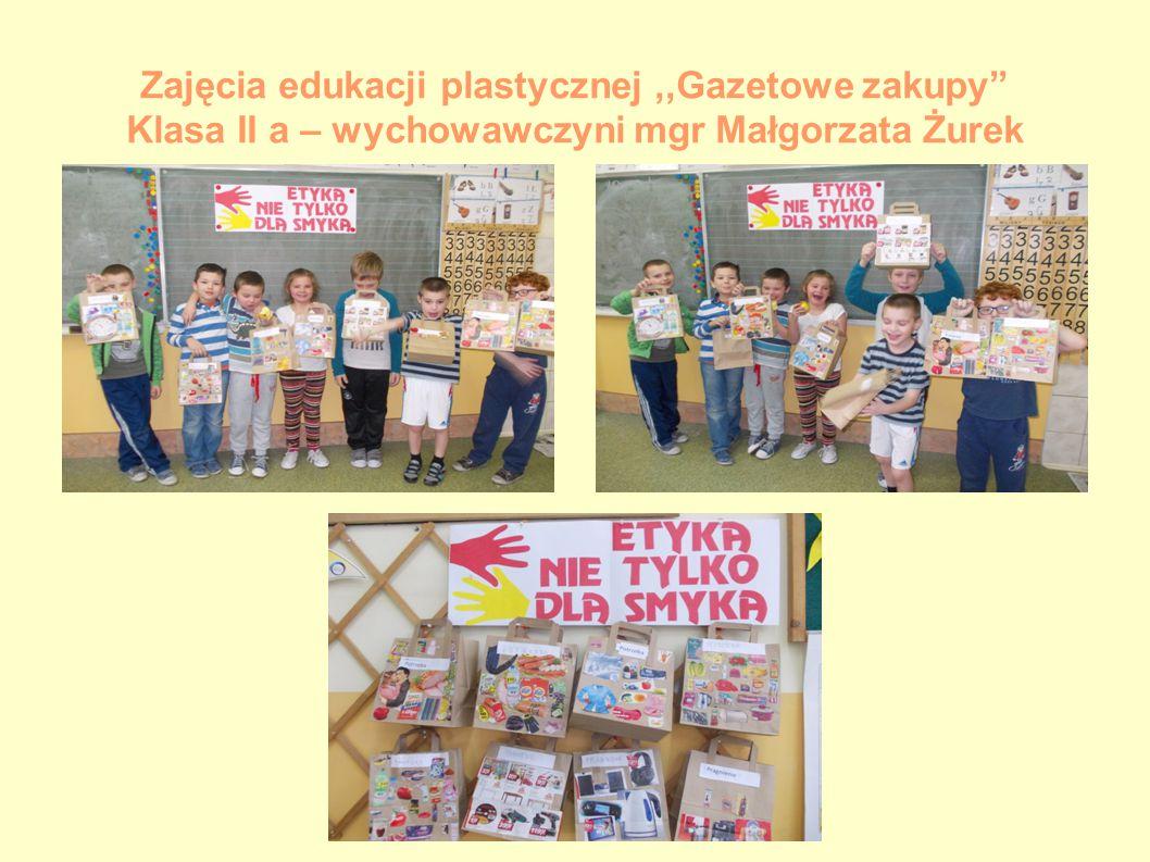 Zajęcia edukacji plastycznej ,,Gazetowe zakupy Klasa II a – wychowawczyni mgr Małgorzata Żurek