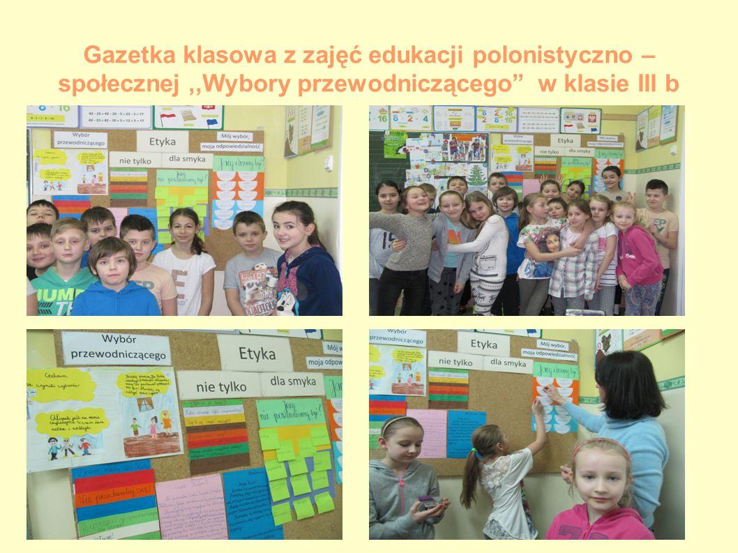 Gazetka klasowa z zajęć edukacji polonistyczno – społecznej ,,Wybory przewodniczącego w klasie III b
