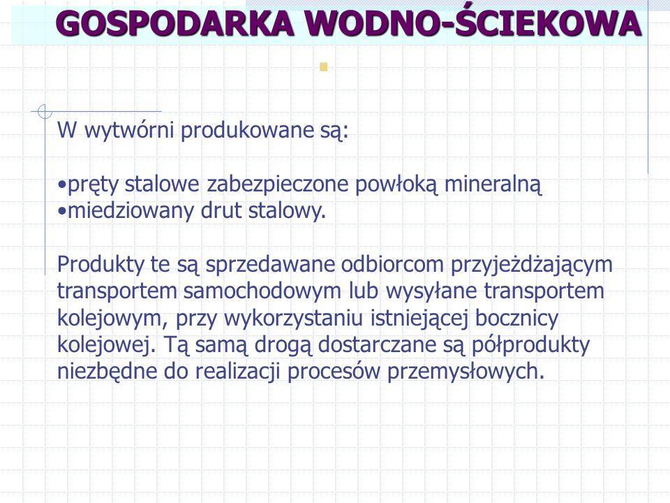 . GOSPODARKA WODNO-ŚCIEKOWA W wytwórni produkowane są: