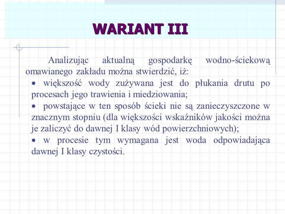 WARIANT III Analizując aktualną gospodarkę wodno-ściekową omawianego zakładu można stwierdzić, iż: