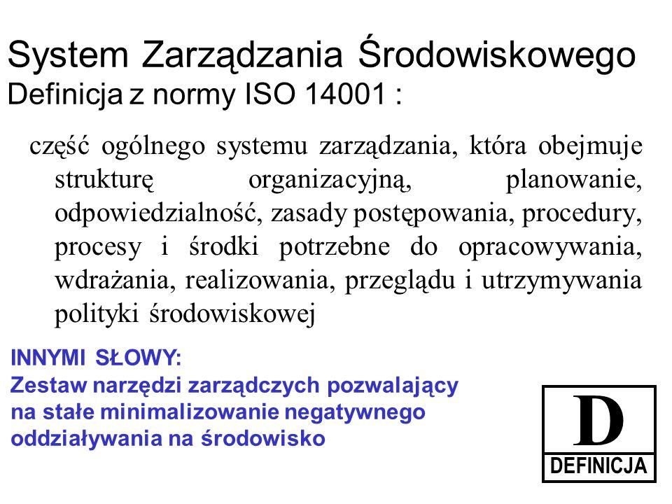 D System Zarządzania Środowiskowego Definicja z normy ISO 14001 :