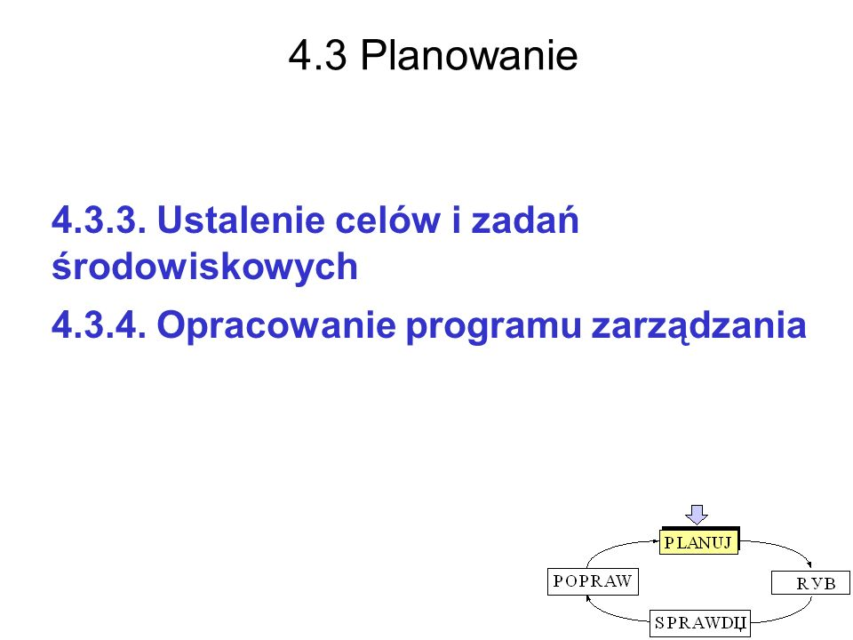 4.3 Planowanie 4.3.3. Ustalenie celów i zadań środowiskowych