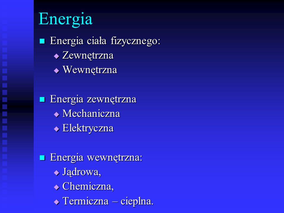 Energia Energia ciała fizycznego: Zewnętrzna Wewnętrzna