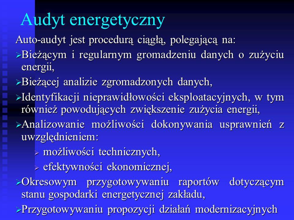 Audyt energetyczny Auto-audyt jest procedurą ciągłą, polegającą na: