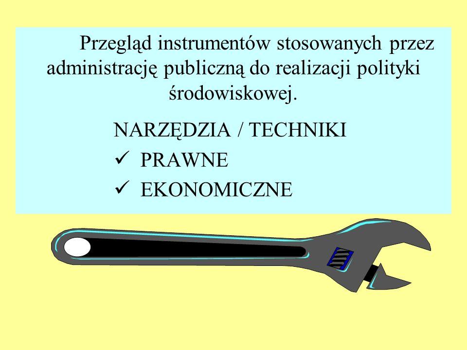 Przegląd instrumentów stosowanych przez administrację publiczną do realizacji polityki środowiskowej.