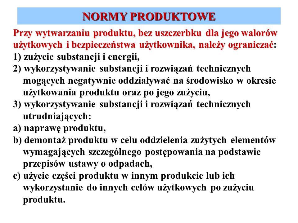 NORMY PRODUKTOWE Przy wytwarzaniu produktu, bez uszczerbku dla jego walorów użytkowych i bezpieczeństwa użytkownika, należy ograniczać: