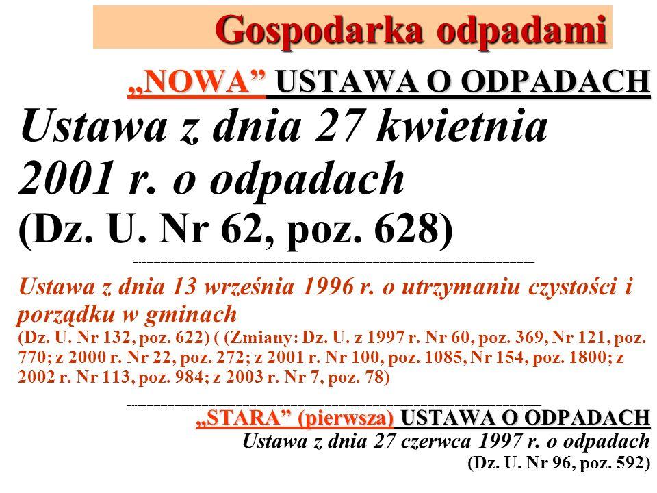 Ustawa z dnia 27 kwietnia 2001 r. o odpadach