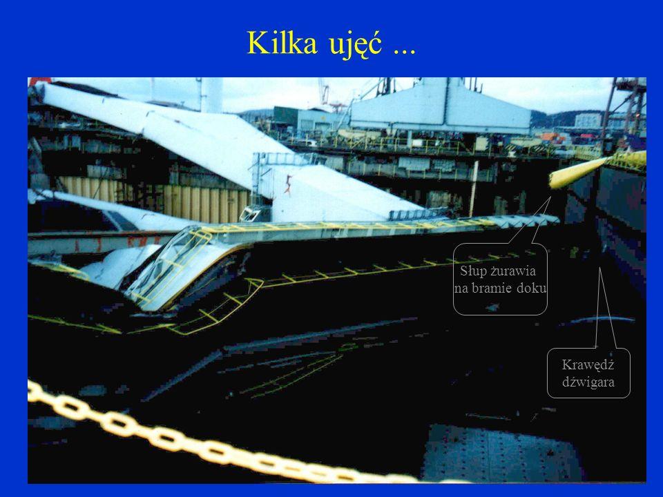 Kilka ujęć ... Słup żurawia na bramie doku Krawędź dźwigara