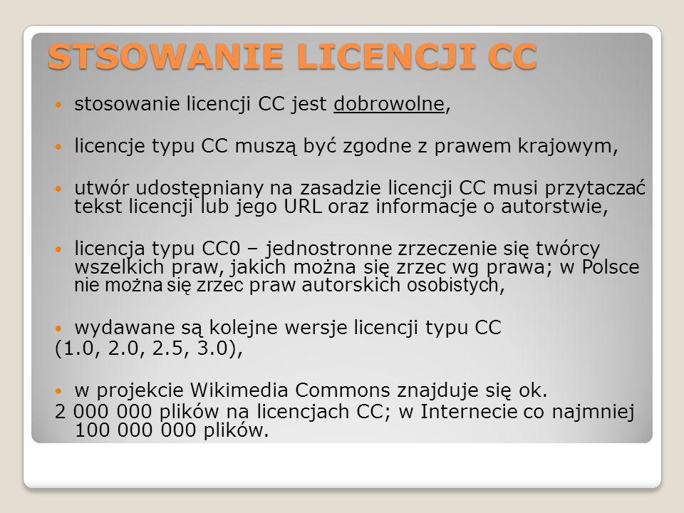 STSOWANIE LICENCJI CC stosowanie licencji CC jest dobrowolne,