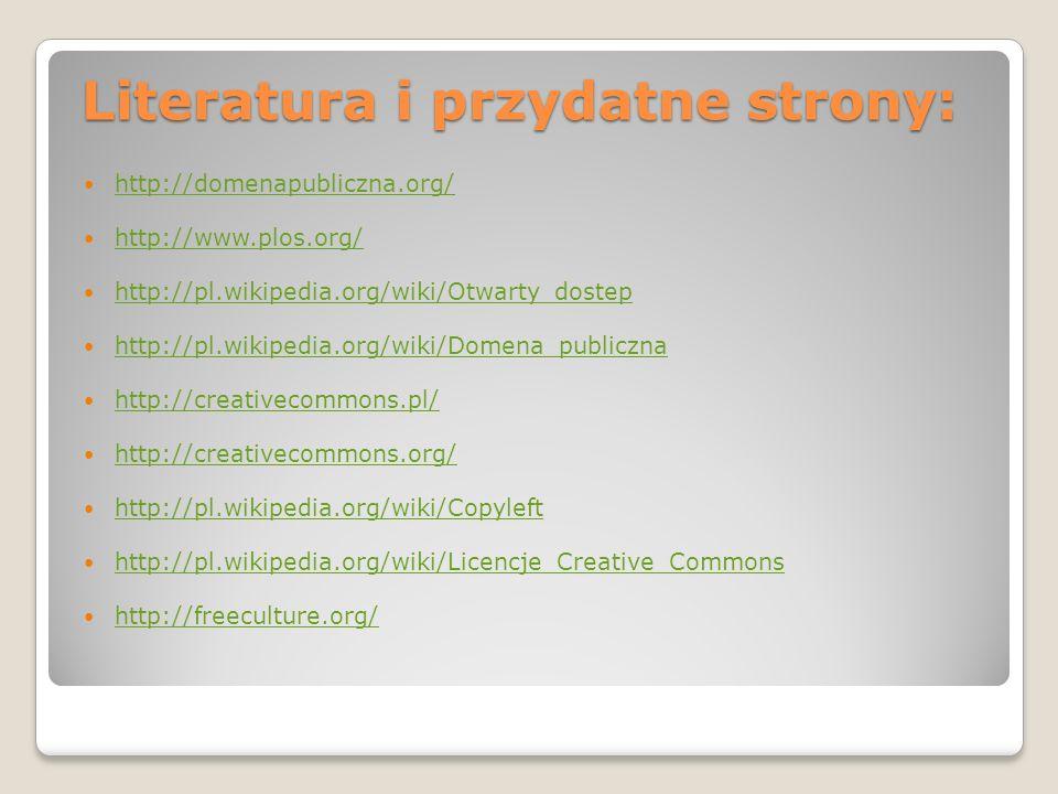 Literatura i przydatne strony: