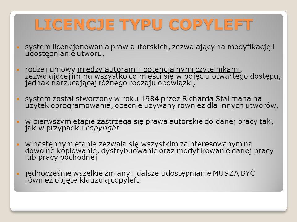 LICENCJE TYPU COPYLEFT