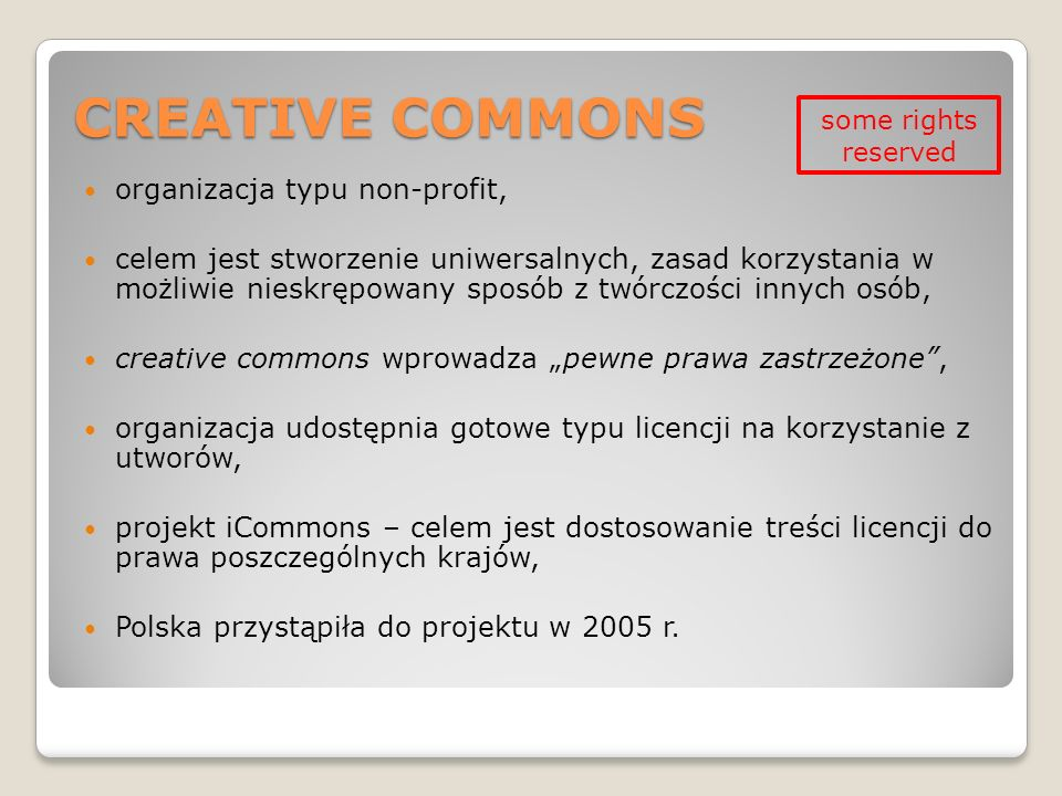 CREATIVE COMMONS organizacja typu non-profit,