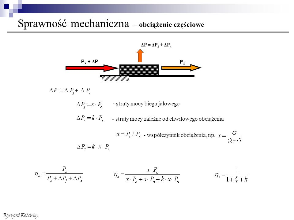Sprawność mechaniczna – obciążenie częściowe