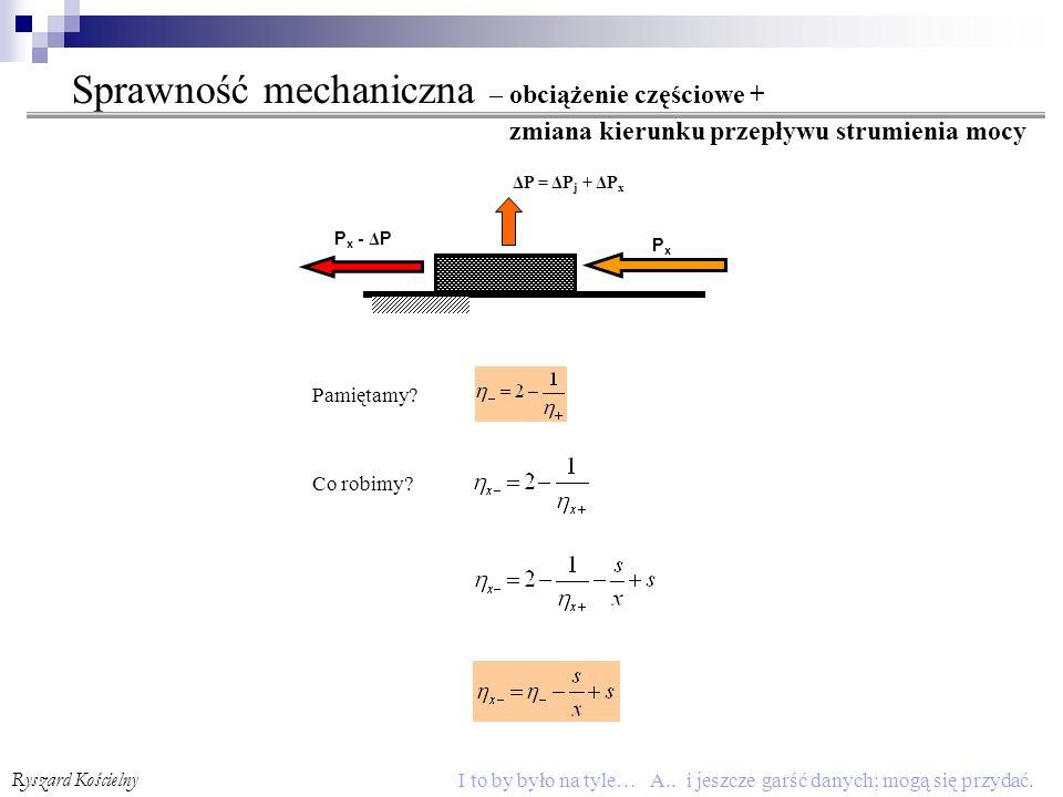 Sprawność mechaniczna – obciążenie częściowe + zmiana kierunku przepływu strumienia mocy
