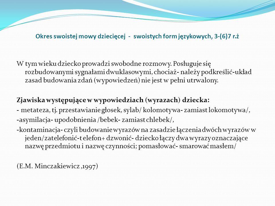 Okres swoistej mowy dziecięcej - swoistych form językowych, 3-(6)7 r.ż