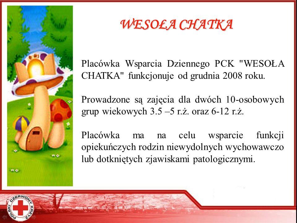 WESOŁA CHATKA Placówka Wsparcia Dziennego PCK WESOŁA CHATKA funkcjonuje od grudnia 2008 roku.