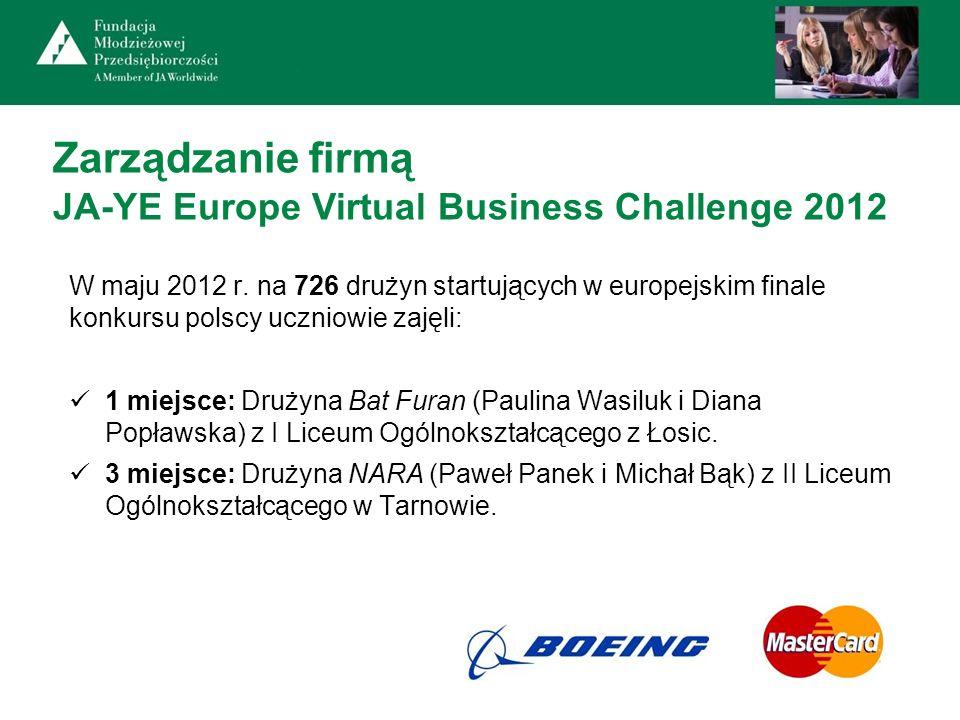 Zarządzanie firmą JA-YE Europe Virtual Business Challenge 2012