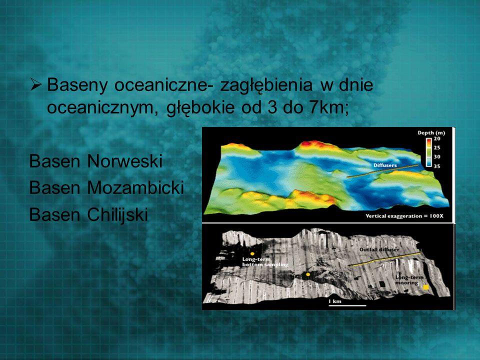 Baseny oceaniczne- zagłębienia w dnie oceanicznym, głębokie od 3 do 7km;