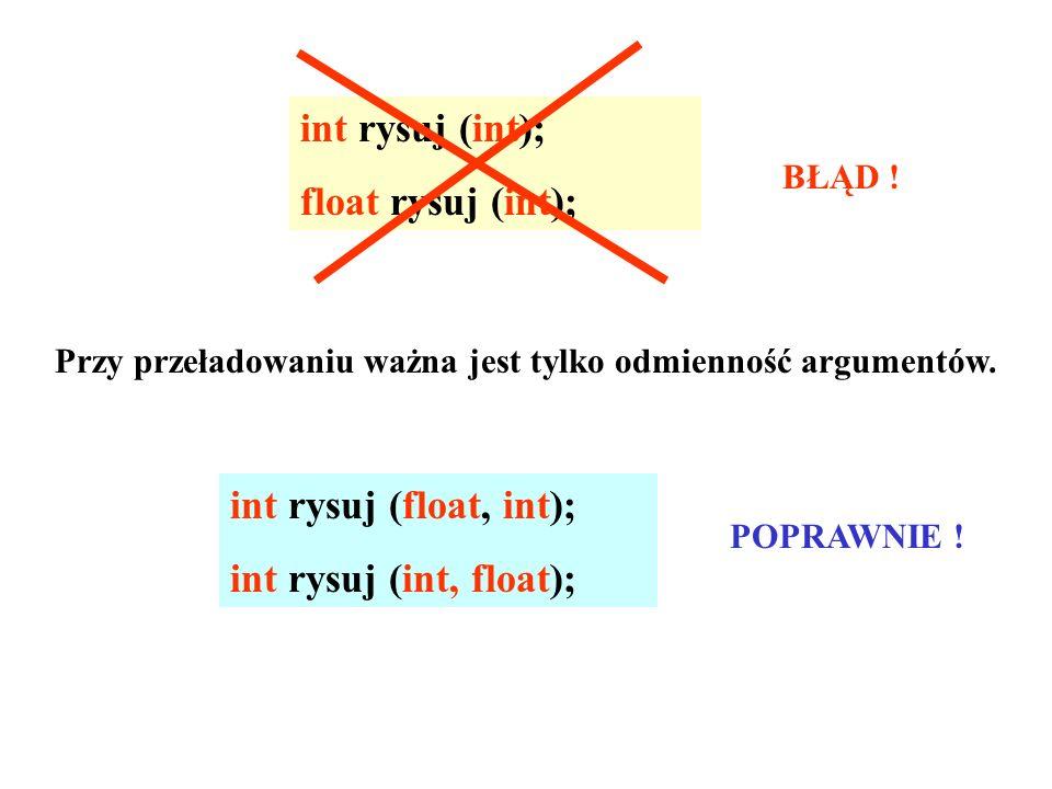 int rysuj (int); float rysuj (int); int rysuj (float, int);