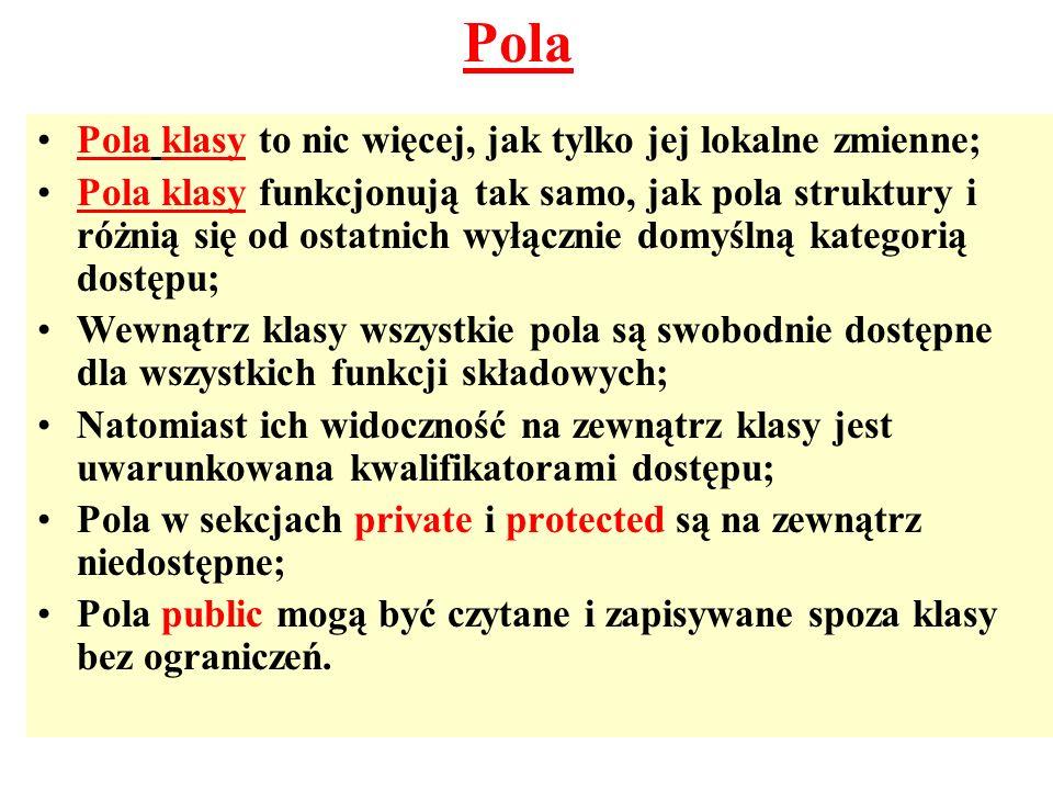 Pola Pola klasy to nic więcej, jak tylko jej lokalne zmienne;