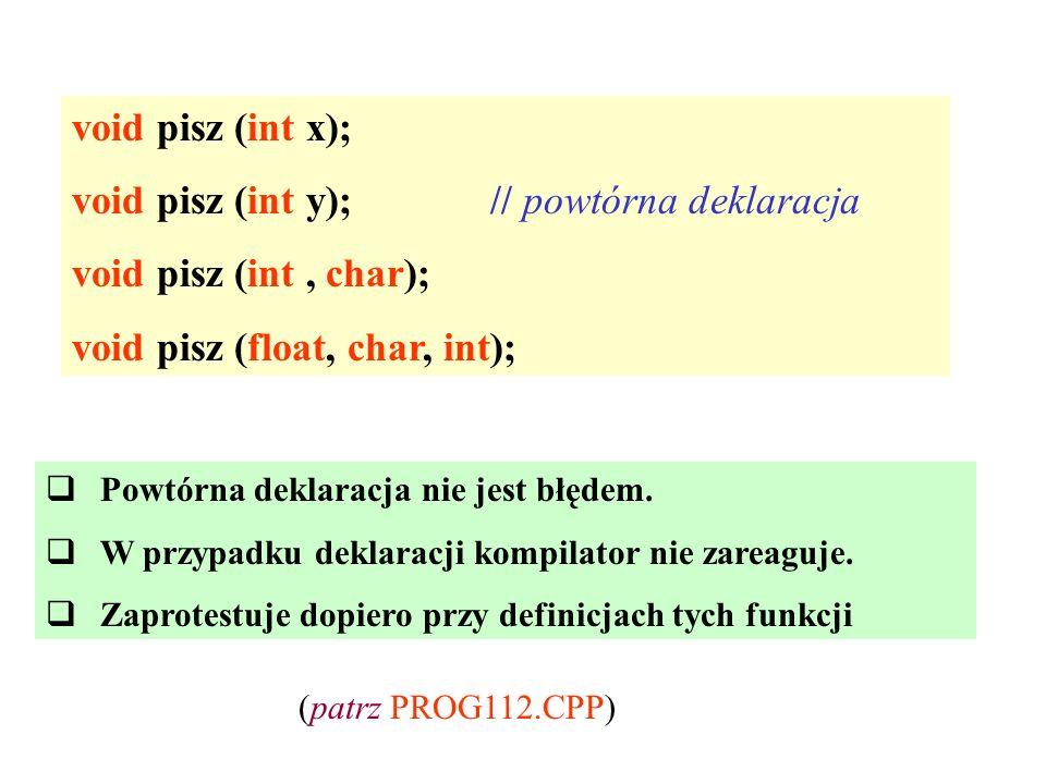 void pisz (int y); // powtórna deklaracja void pisz (int , char);