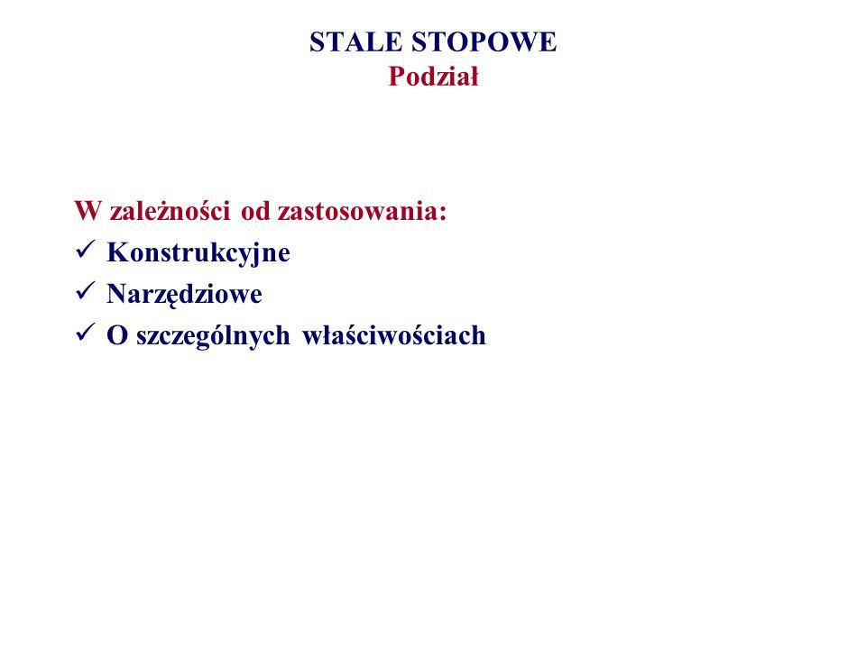 STALE STOPOWE PodziałW zależności od zastosowania: Konstrukcyjne.