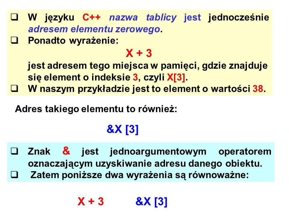W języku C++ nazwa tablicy jest jednocześnie adresem elementu zerowego.