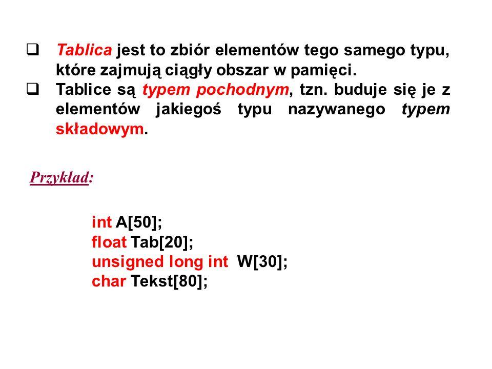 Tablica jest to zbiór elementów tego samego typu, które zajmują ciągły obszar w pamięci.