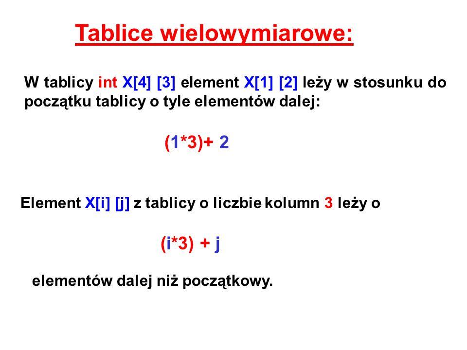 Tablice wielowymiarowe:
