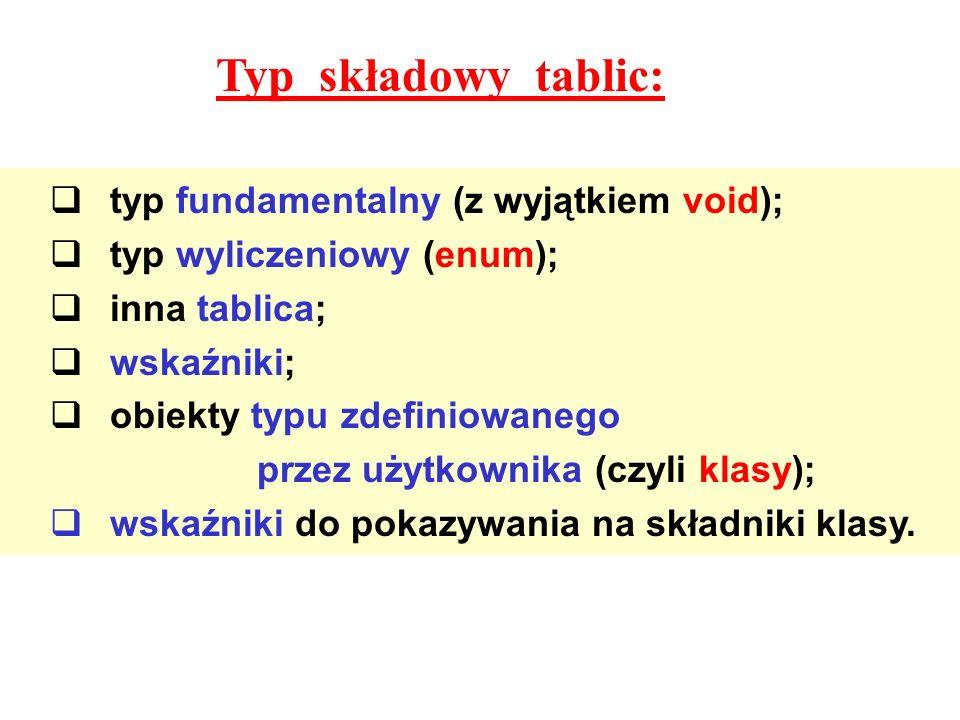 Typ składowy tablic: typ fundamentalny (z wyjątkiem void);