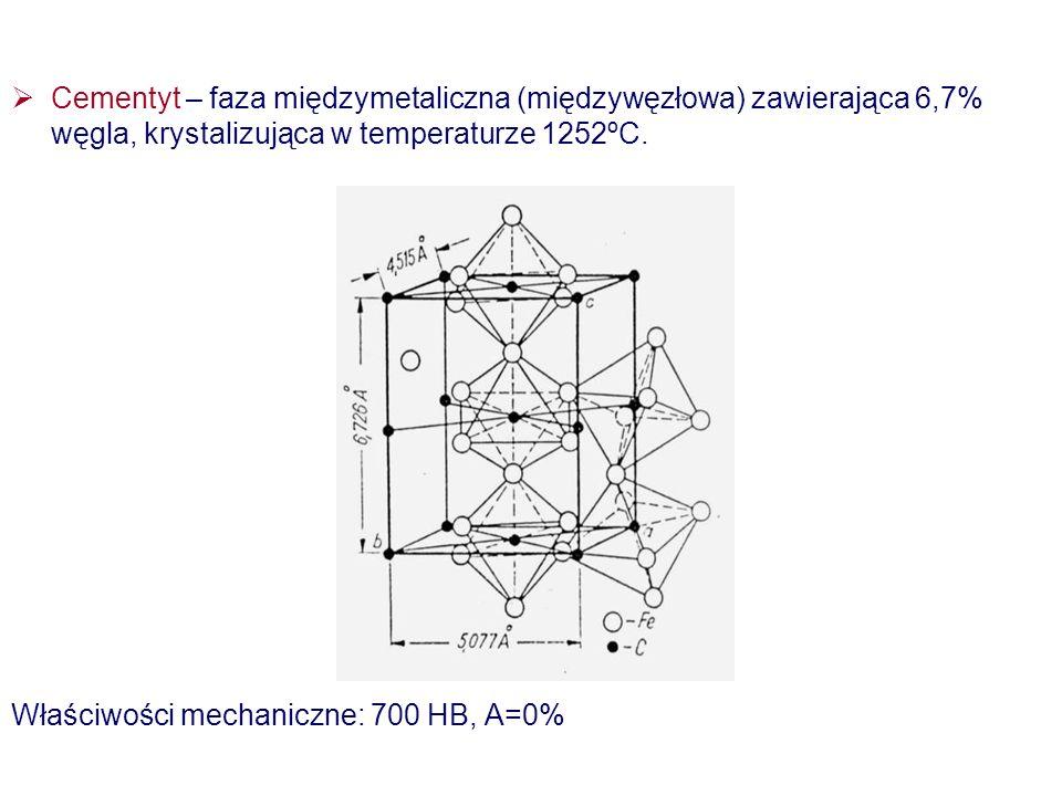 Cementyt – faza międzymetaliczna (międzywęzłowa) zawierająca 6,7% węgla, krystalizująca w temperaturze 1252ºC.